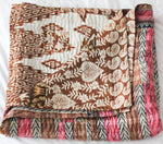 Vintage Kantha Quilt in pink and brown - Anokha Collection