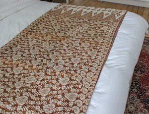 Vintage brown Kantha throw - Anokha Collection