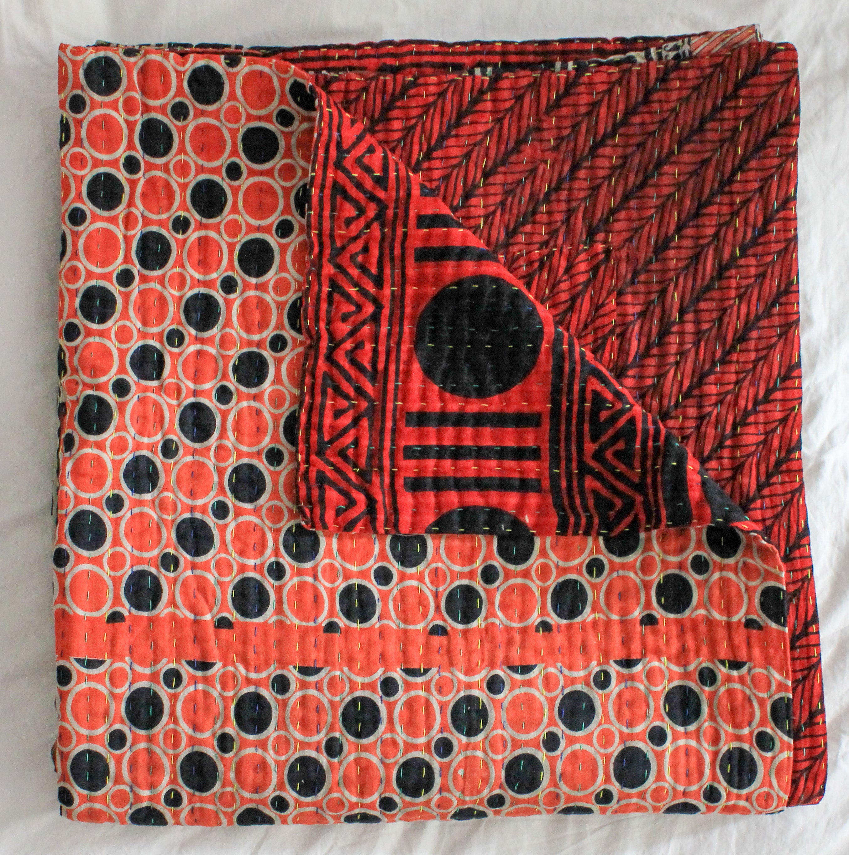 Vintage Kantha Quilt in red and black geometrical pattern - Anokha Collection