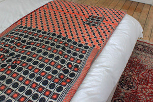 Vintage Kantha throw in red geometrical pattern - Anokha Collection