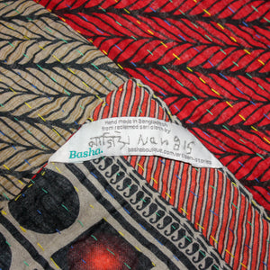 red and grey Kantha Quilt label - Anokha Collection