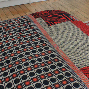 Vintage Kantha bedspread in red and grey - Anokha Collection