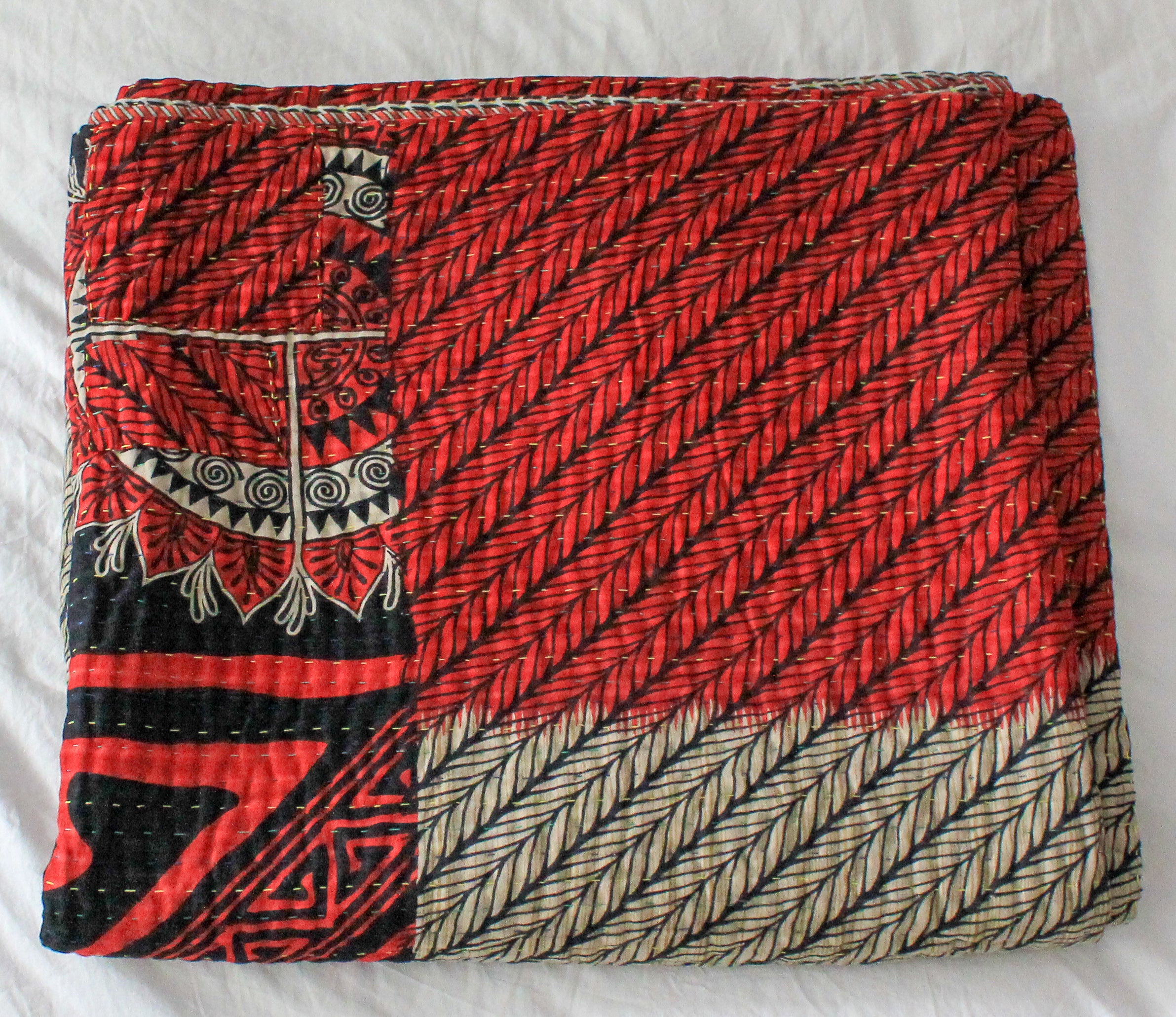 Vintage red Kantha Quilt - Anokha Collection