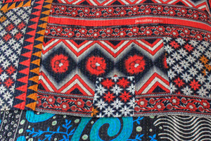 Vintage Kantha Quilt with red pattern - Anokha Collection
