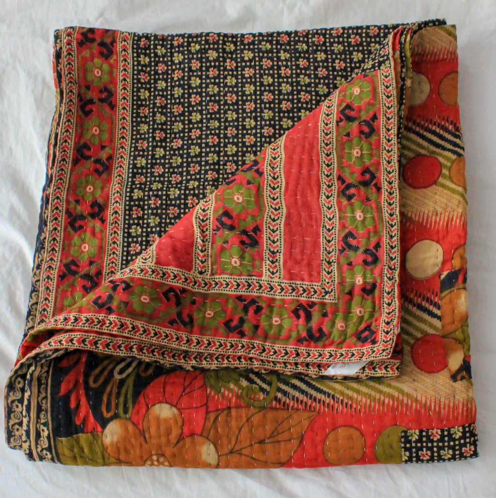 Red and Black Kantha Quilt - Anokha Collection