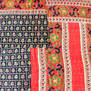 Vintage Kantha Quilt in red and black pattern - Anokha Collection