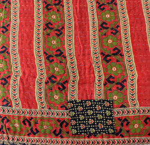 Vintage red Kantha Quilt detail - Anokha Collection