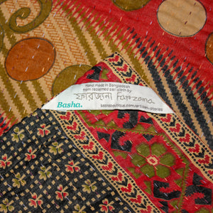 Vintage Kantha Quilt in black and red label - Anokha Collection