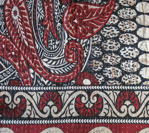 Red Kantha Quilt Detail - Anokha Collection