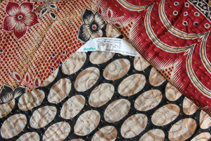 Red Kantha Quilt Label - Anokha Collection