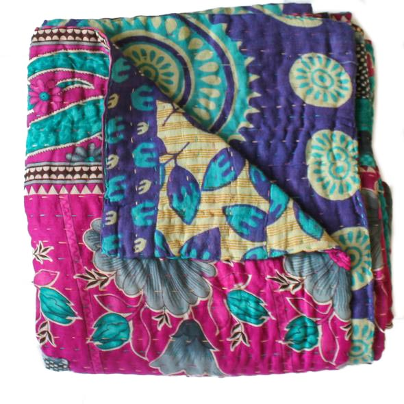 Indian Pink Kantha Quilt - Anokha Collection