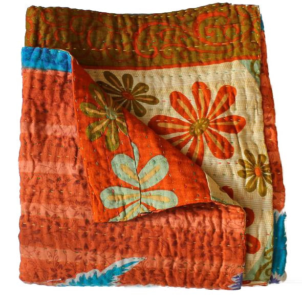 Orange Kantha Quilt - Anokha Collection