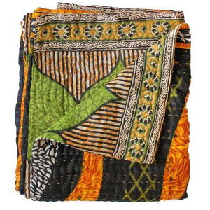 Black and Orange Kantha Quilt - Anokha Collection