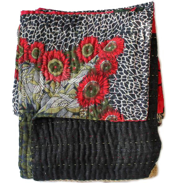Black and Green Kantha Quilt Flower Pattern - Anokha Collection