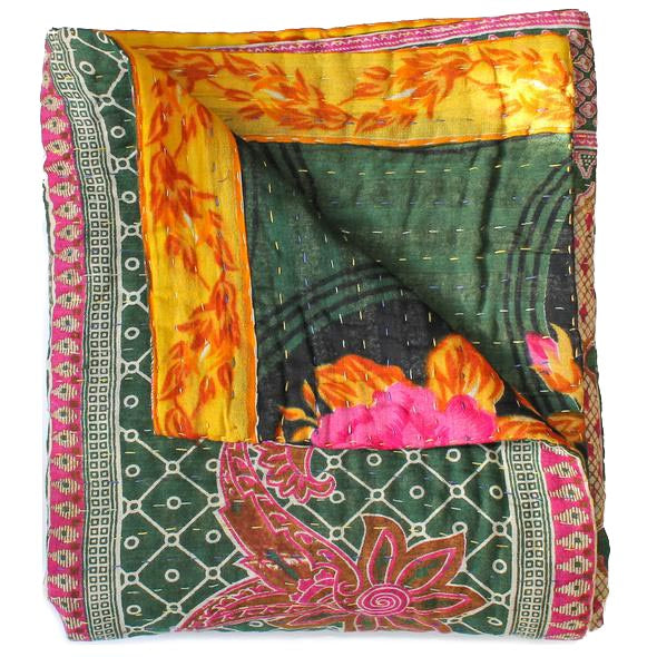 Dark Green Kantha Quilt - Anokha Collection