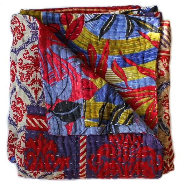 Red and Purple Kantha Quilt detail - Anokha Collection