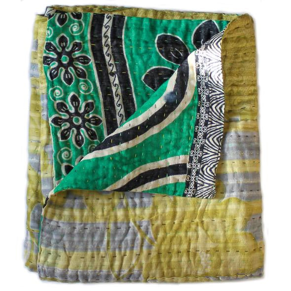 Green Kantha Quilt with black flowers - Anokha Collection