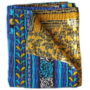Blue and Yellow Kantha Quilt - Anokha Collection