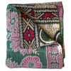 Green and Pink Kantha Quilt - Anokha Collection