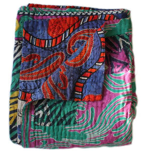 Green and Red Kantha Quilt - Anokha Collection