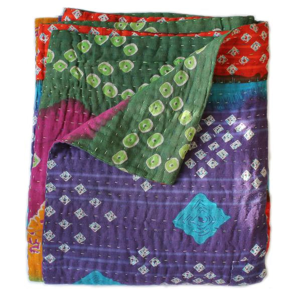 Purple Kantha Quilt - Anokha Collection