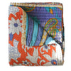 Orange and Blue Kantha Quilt - Anokha Collection