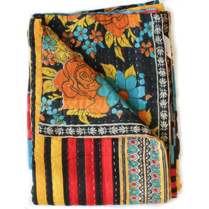 Black Kantha Quilt - Anokha Collection