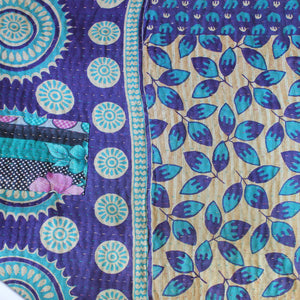 Indian Pink Kantha Quilt Purple Side 1 - Anokha Collection