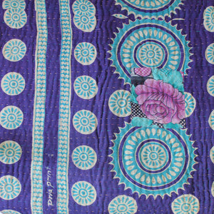 Indian Pink Kantha Quilt Purple Side 2 - Anokha Collection