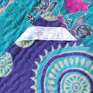 Indian Pink Kantha Quilt Label  - Anokha Collection