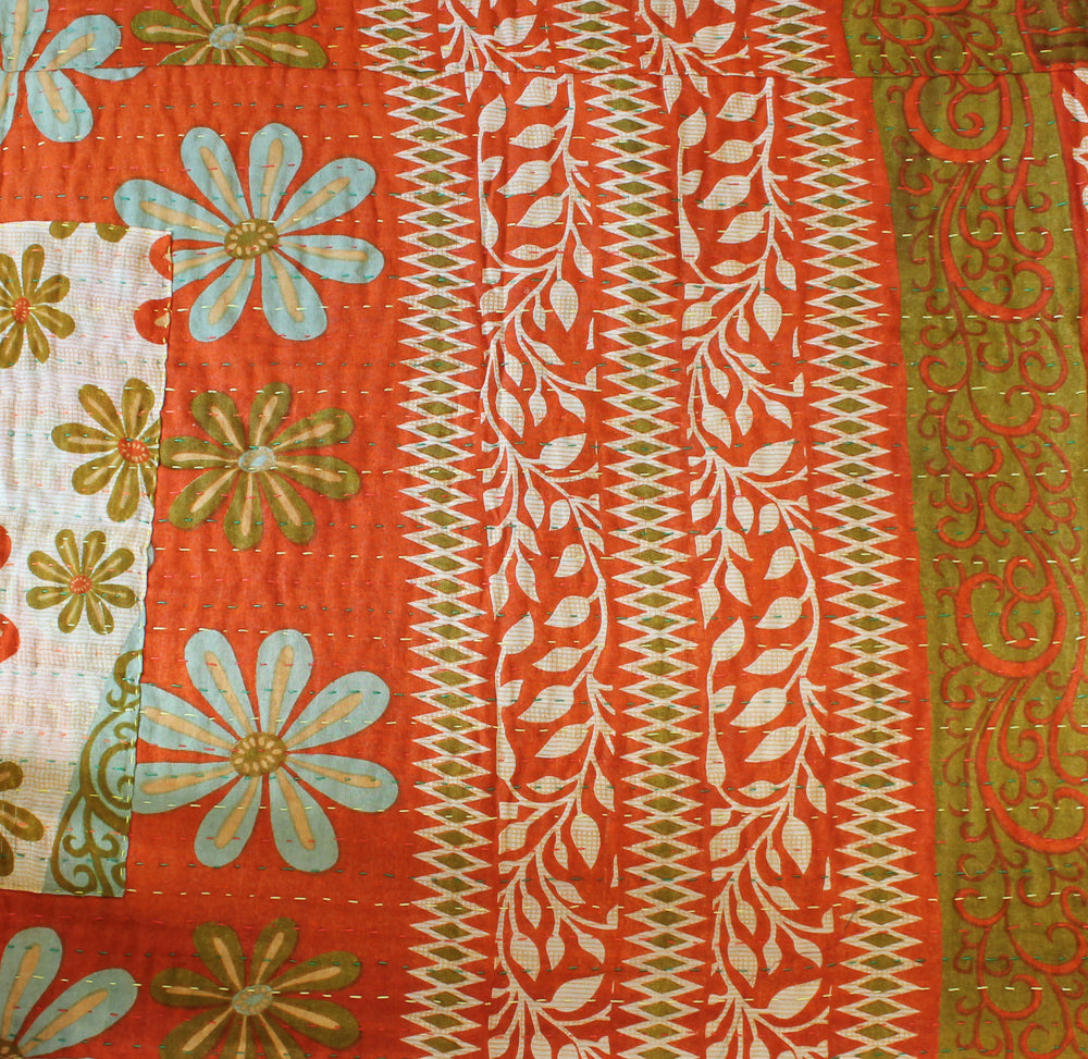 Orange Kantha Quilt Reversible - Anokha Collection