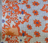 Orange and Blue Kantha Quilt Orange Side 1 - Anokha Collection
