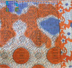 Orange and Blue Kantha Quilt Orange Side 3- Anokha Collection