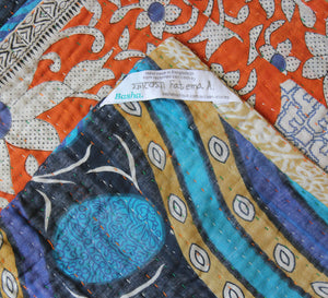 Orange and Blue Kantha Quilt Label- Anokha Collection