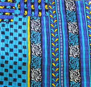 Black and Green Kantha Quilt Blue Side - Anokha Collection