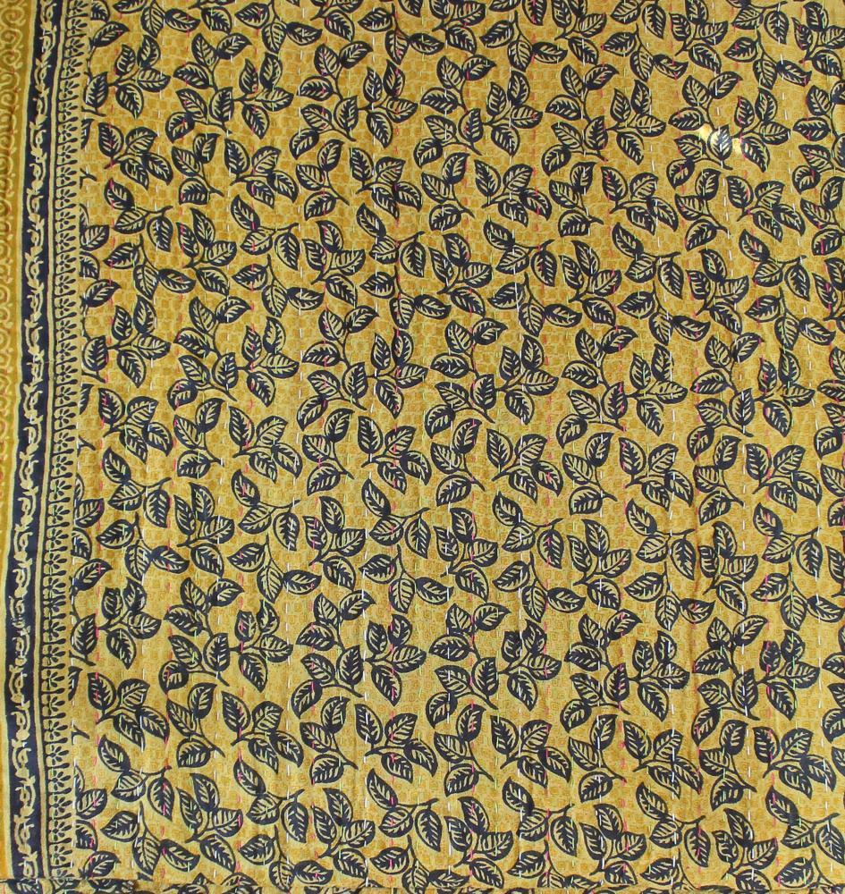 Black and Green Kantha Quilt Yellow Side - Anokha Collection