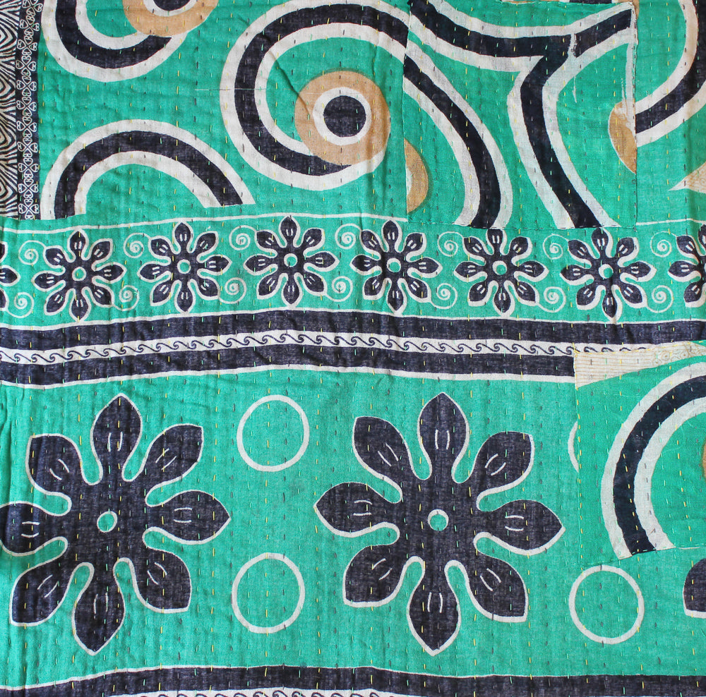 Green Kantha Quilt with black flowers detail - Anokha Collection