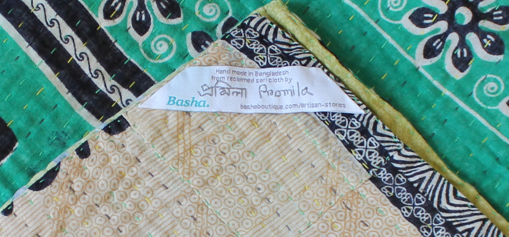 Green and Yellow Kantha Quilt Label - Anokha Collection