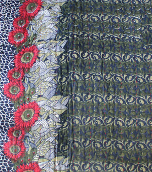 Black and Green Kantha Quilt Pattern Detail - Anokha Collection