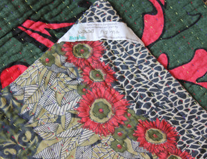 Black and Green Kantha Quilt Label - Anokha Collection