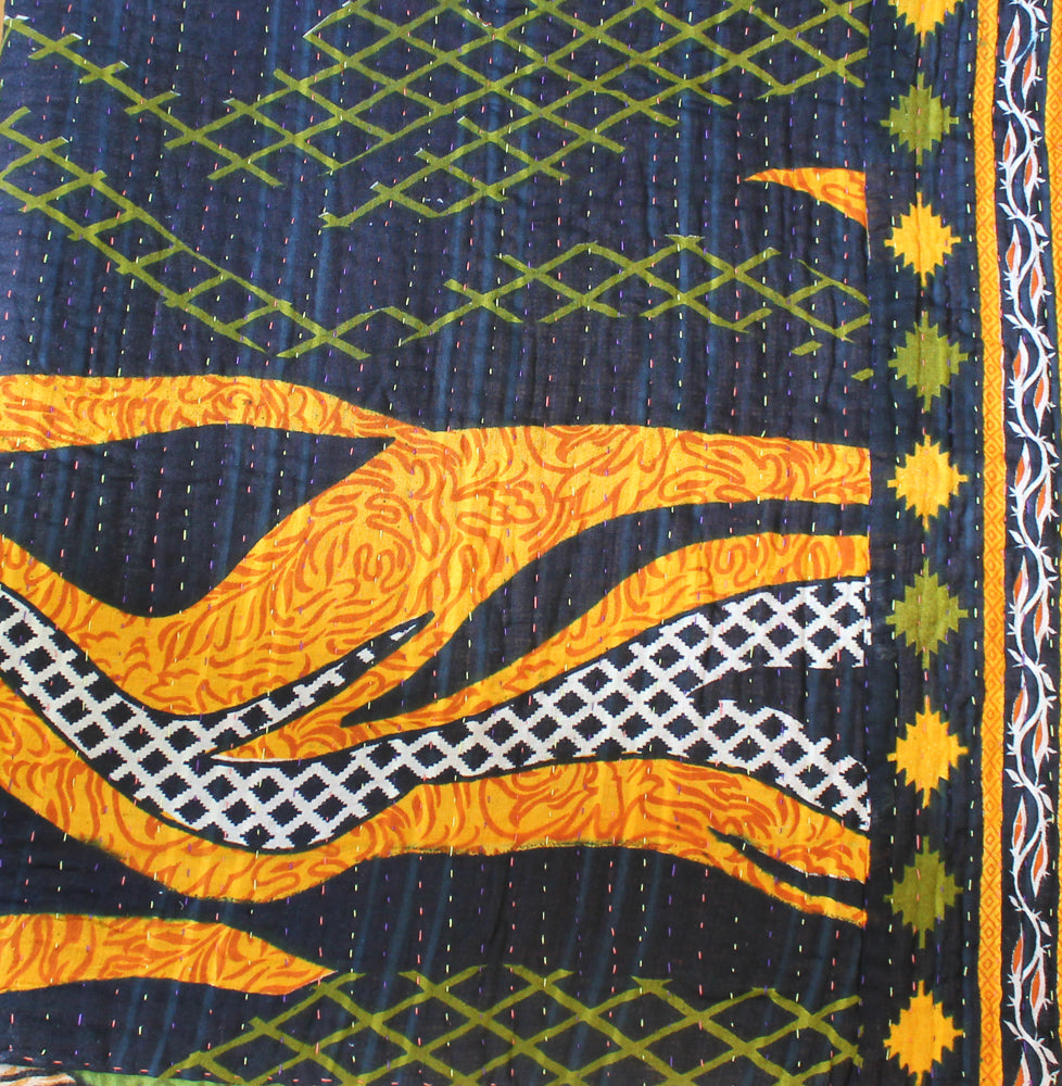 Black Green Kantha Quilt - Anokha Collection