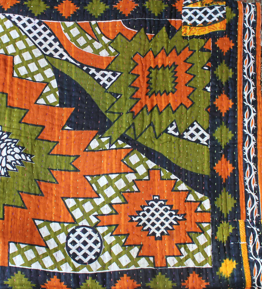 Black Green Kantha Quilt Detail - Anokha Collection