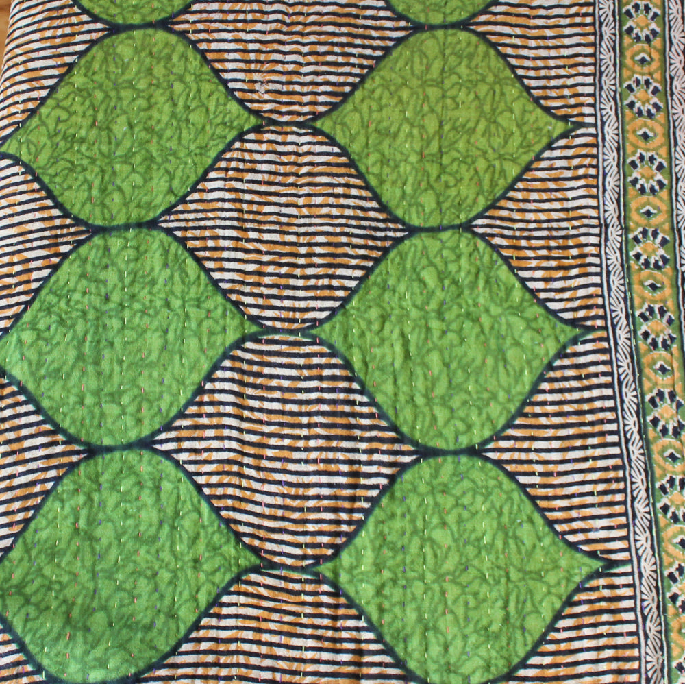 Black and green Kantha Quilt detail - Anokha Collection