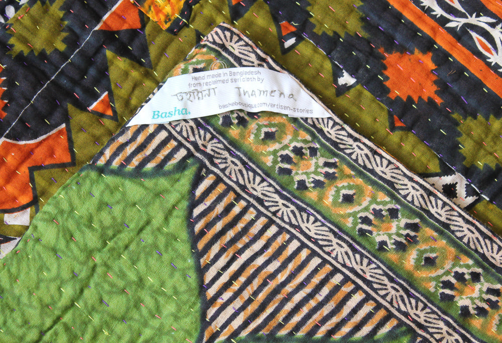 Black Green Kantha Quilt Label - Anokha Collection