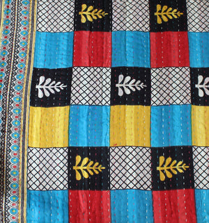 Black Kantha Quilt Details - Anokha Collection