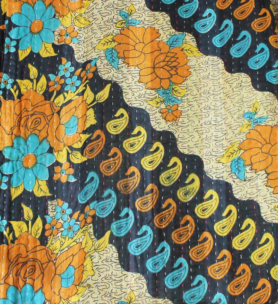Black Kantha Quilt Flower Pattern - Anokha Collection