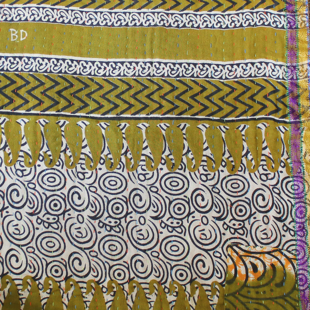Yellow Kantha Quilt Detail - Anokha Collection