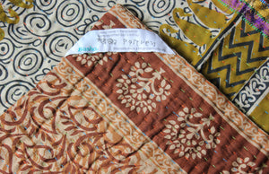 Yellow Kantha Quilt Label - Anokha Collection