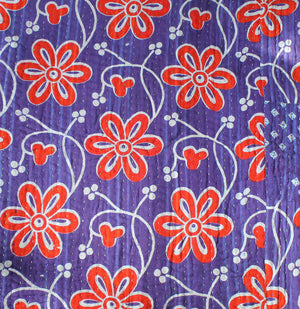 Purple Kantha Quilt with red flowers - Anokha Collection