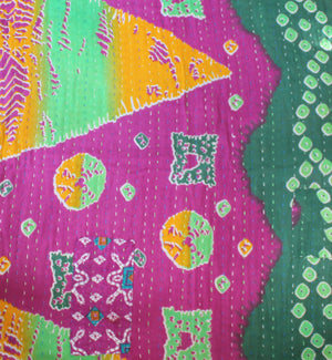 Purple Kantha Quilt Reversibile - Anokha Collection